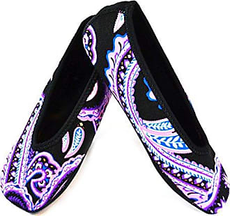 Nufoot Ballet Flats Womens Shoes, Best Foldable & Flexible Flats, Slipper Socks, Travel Slippers & Exercise Shoes, Dance Shoes, Yoga Socks, House Shoes, Indoor Slippers, Paisley, Medium