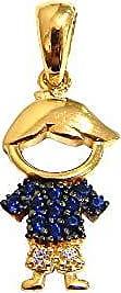 Prado Joias Pingente Em Ouro 18k Menino Com Zircônias Azul