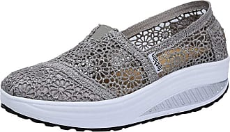 Yvelands Wedge Loafer Shoes Women Fashion Lace Shake Sports Shoes Low Heel Running Sneaker for Ladies Sale Gray