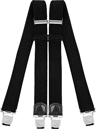 Decalen Mens Braces with Very Strong Clips Heavy Duty Suspenders One Size Fits All Wide Adjustable and Elastic X Style (Black)