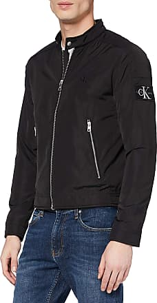 Calvin Klein Jeans Mens Nylon Racer with Details Bomber Jacket, Black (Ck Black Bae), X-Large (Size:XL)
