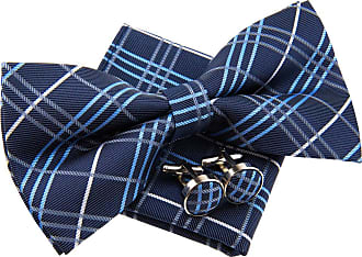 Retreez Tartan Plaid Check Styles Woven Microfiber Pre-tied Bow Tie (Width: 5) with matching Pocket Square and Cufflinks, Gift Box Set as a Christmas Gift, Bi