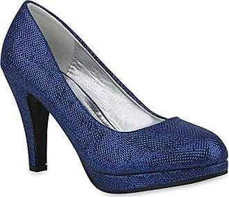 68f7877b09e160 Stiefelparadies Klassische Damen Schuhe Pumps Stiletto High Heels Glitzer  Party 153504 Blau 37 Flandell