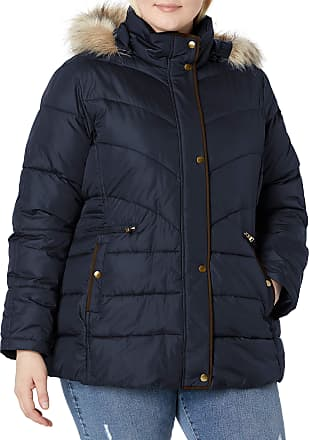 LARRY LEVINE womens Plus-size Mid-length Coat With Faux Fur-trim Hood