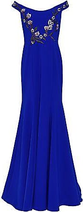 Marchesa Marchesa Notte Woman Off-the-shoulder Embellished Cady Gown Royal Blue Size 10