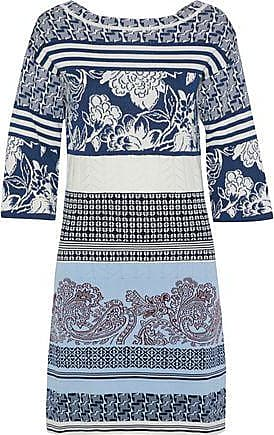 Etro Etro Woman Pointelle-trimmed Cotton-jacquard Mini Dress Multicolor Size 44