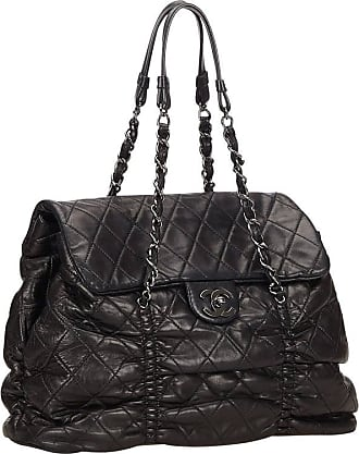 2cde64da65b0 Chanel Black Quilted Lambskin Leather Matelasse Tote Bag