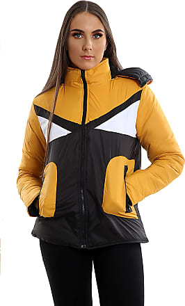 Parsa Fashions Womens Contrast Fancy Quilted Padded Puffer Warm Thick Zipper Jacket Ladies Winter Coat (L, Mustard - Black)