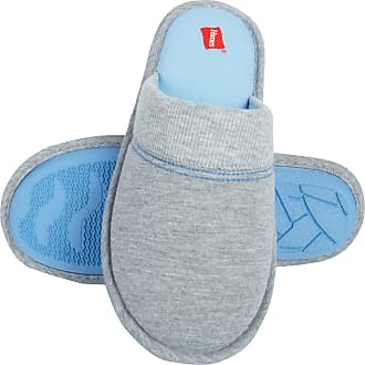 Hanes Womens Superior Comfort Cotton Slip On Scuff Slipper, Grey/Blue, Medium