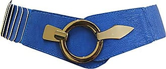 Damen Gürtel Leder Taillen Hüftgürtel One Size Stretch Braun Metallic SA-73