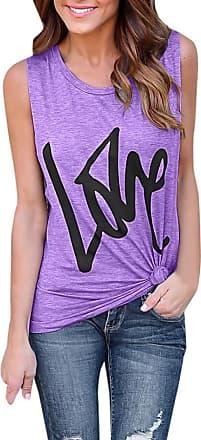 FNKDOR Summer Womens Lady Outing Dating Fashion Soild Lover Logo Print Blouse Sexy Vest Fashion Sleeveless T-Shirt Sunwear (Purple,UK-14/CN-XL)