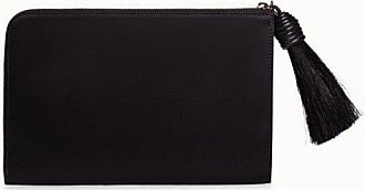 MQaccessories Satin Fabric Pouch With Softcalf Leather Trimming And Tassel