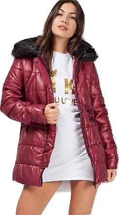 Momo & Ayat Fashions Ladies Faux Fur Hood Padded Jacket UK Size 8-14 (Wine, UK 10 (EUR 38))
