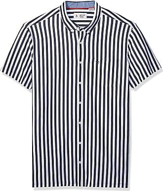 Original Penguin Original Penguin Mens Tall Short Sleeve Vertical Stripe Button Down Shirt, Dark Sapphire, 1-XL Extra Large