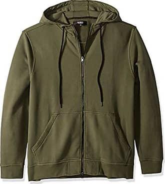 Hudson Mens Hooded Zip Up Sweatshirt, Fatigue/Green, LG