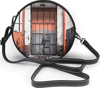 Turfed Worn Out Look Gate Round Crossbody Bag Women PU Shoulder Bag Circle Purse Messenger Bag With Adjustable Straps