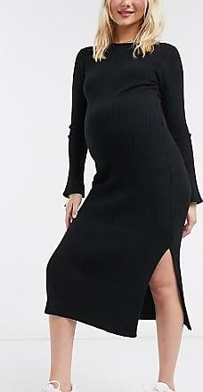 Asos Maternity ASOS DESIGN Maternity crew neck ribbed midi dress-Black