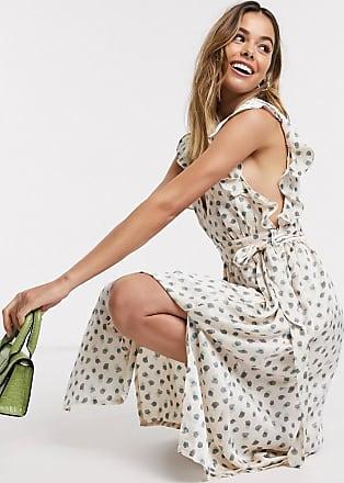 Glamorous Freizeitkleid mit Rüschenärmeln und Punktmuster-Mehrfarbig