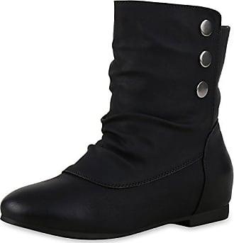 a2ac54bd88ef napoli-fashion Schlupfstiefel Damen Schuhe Stiefeletten Warm Gefüttert  Stiefel Nieten Schwarz Nieten 36 Jennika