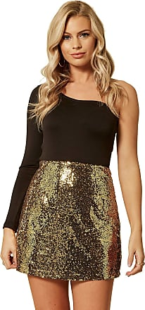 Unique21 Women Pencil Sequin Mini Skirt - Ladies Fashion Skirts for Party Evening Dinner Formal Sequins Skirt (12, Gold Sequin)