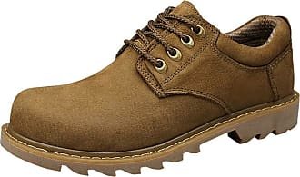 Insun Mens Padded Collar Plain Toe Oxford Shoes Khaki UK 10.5
