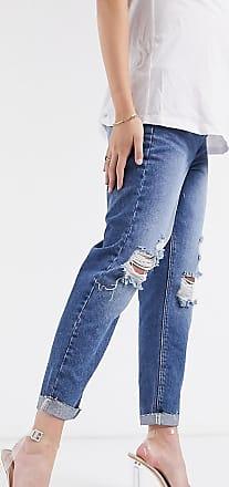Urban Bliss Urban Bliss - Mom jeans premaman strappati lavaggio blu medio