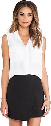 Equipment Sleeveless Slim Signature Blouse in White