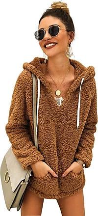 YYW Women Winter Plush Fuzzy Drawstring V Neck Sweatshirts Sherpa Fleece Outwear Hoodies Sweatshirt Pullover Tops with Pockets (Khaki,L)