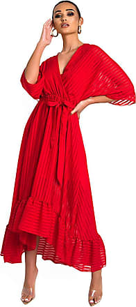 Ikrush Melody Belted Frill Maxi Dress RED UK S/M