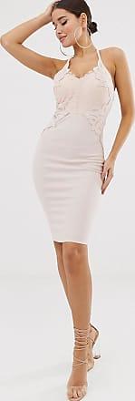 Lipsy Figurbetontes Kleid in Staubrosa mit tiefem Ausschnitt und Applikation
