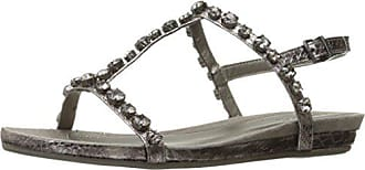Kenneth Cole Reaction Womens Lost Catch Flat Gladiator Open Toe Sandal with Gemstone Accents-Embossed, Pewter, 5 M US