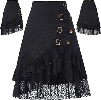 Belle Poque Vintage Gothic Steampunk Skirt Victorian Corset Black A-Line Strechy Skirt XL