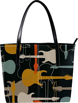 Nananma Womens Bag Shoulder Tote handbag with Colorful Musical Instruments Pattern Zipper Purse PU Leather Top-handle Zip Bags