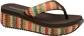Dunlop Ladies Toe Post Low Wedge Flip Flops Raffia Beach Summer Sandals Shoes Size 3-8 (8 UK, Multi.Brown)