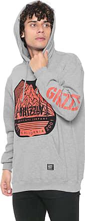 Grizzly Moletom Flanelado Fechado Grizzly Feet Hoodie Cinza
