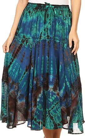 Sakkas 18221 - Justina Womens Dance Midi Full Circle Tie-dye Skirt with Elastic Waist - Blue - OS