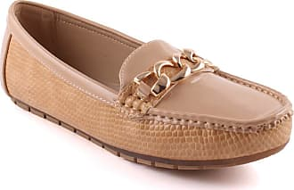 Unze Unze Women JAYNE Textured Patent Vamp Evening Chain Buckle Stitched Detail Formal Loafers Slip On Moccasins UK Size 3-8 - A21