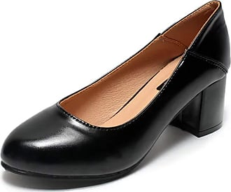 OCHENTA Womens Comfort Chunky Pumps Classic Dress Work Party Shoes Low Heel Pointed Toe Black Tag 39-UK 5.5