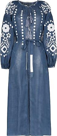 Vita Kin Vestido longo Cherry Blossom de linho - Azul