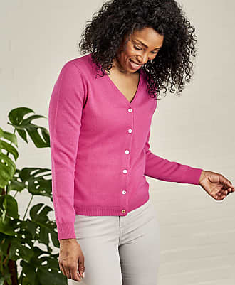 WoolOvers Womens Cashmere and Merino Luxurious V Neck Cardigan Rich Rose 3128502c7