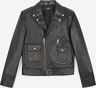 The Kooples Leather black biker jacket w/epaulettes - MEN