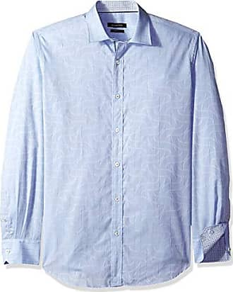 Bugatchi Mens Fitted Short Sleeve Point Collar Sport Shirt