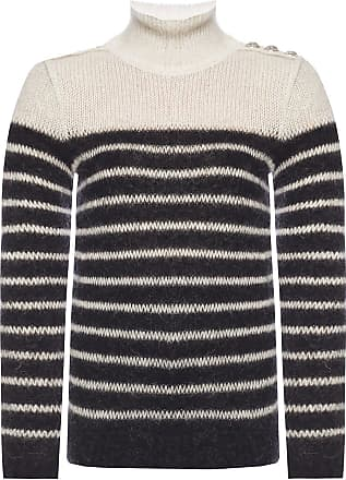 Balmain Striped Turtleneck Sweater Womens Grey