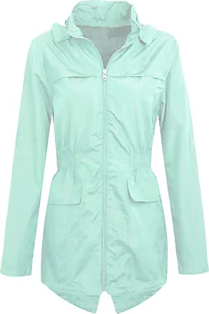 Shelikes Womens Hooded Mac Light Showerproof Rain Jacket PaleMint_10