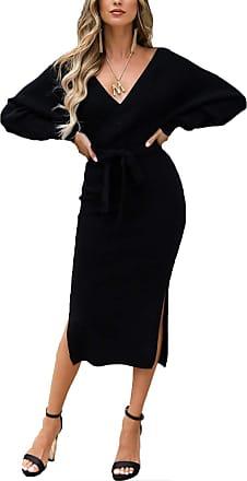 Yidarton Womens Jumper Dress Knitted Dress Sweater Dress Elegant V-Neck Backless Long Sleeve Tunic Dress with Belt (Style-2, XL)
