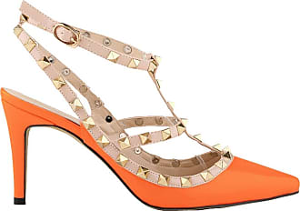 Dethan Womens Patent Lether Pointed Toe Rivet Studded Ankle Strap Sandals,Orange,5.5UK