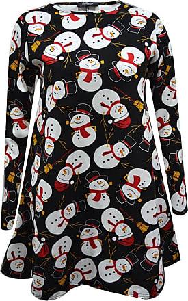 New Ladies Long Sleeve Santa Snowman X-mass Olaf Print Flared Swing Dress 8-22