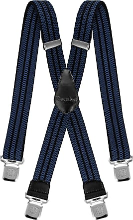 Decalen Mens Braces Very Strong Clips One Size Fits All X Style Heavy Duty Suspenders (Blue Black)