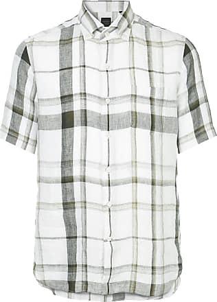 Durban Camisa xadrez mangas curtas de linho - Branco