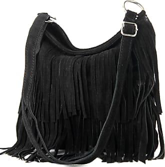 modamoda.de Ital. Leather bag Shoulderbag Shoulder bag Ladiesbag Wild leather T125, Colour:black
